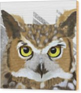 Geometric Great Horned Owl Wood Print