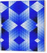 Geometric In Blue Wood Print