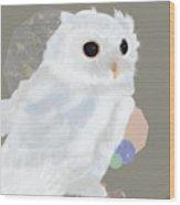 Geometric White Owl Wood Print