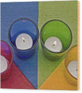 Geometrical Shapes, Colours And Candles Wood Print