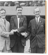 George Sisler - Babe Ruth And Ty Cobb - Baseball Legends Wood Print by International  Images