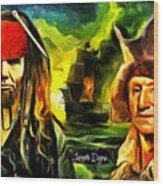 George Washington And Abraham Lincoln The Pirates Wood Print