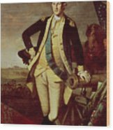 George Washington At Princeton Wood Print by Charles Willson Peale
