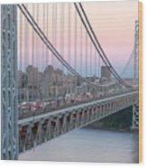 George Washington Bridge And Lighthouse I Wood Print