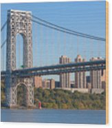 George Washington Bridge And Lighthouse II Wood Print