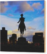George Washington Statue Sunset - Boston Wood Print