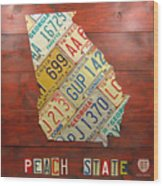 Georgia License Plate Map Wood Print