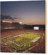 Georgia Sunset Over Sanford Stadium Wood Print by Replay Photos