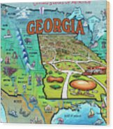 Georgia Usa Cartoon Map Wood Print