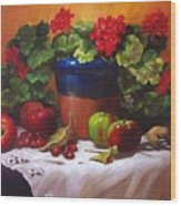 Geraniums And Apples Wood Print