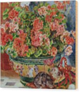 Geraniums And Cats Wood Print