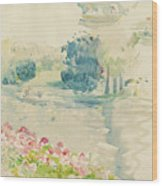 Geraniums By The Lake Wood Print