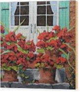 Geraniums On The Porch Wood Print