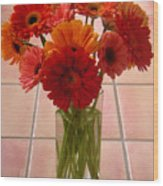 Gerbera Daisies - On Tile Wood Print