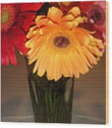 Gerbera Daisies - Vased Wood Print