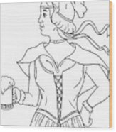 German Barmaid Serving Beer Drawing Wood Print