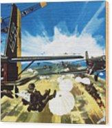 German Paratroopers Landing On Crete During World War Two Wood Print