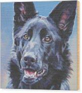 German Shepherd Black Wood Print