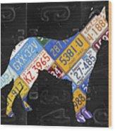 German Shepherd Dog Pet Owner Love Vintage Recycled License Plate Artwork Wood Print