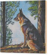 German Shepherd Lookout Wood Print by Lee Ann Shepard