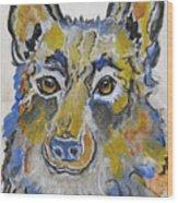 German Shepherd Painting Wood Print