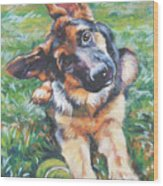 German Shepherd Pup With Ball Wood Print