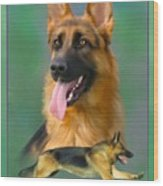 German Shepherd With Name Logo Wood Print