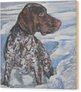 German Shorthaired Pointer In The Snowdrift Wood Print