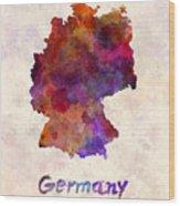 Germany In Watercolor Wood Print