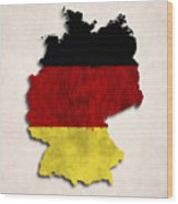 Germany Map Art With Flag Design Wood Print