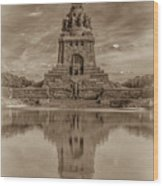 Germany - Monument To The Battle Of The Nations In Leipzig, Saxony, In Sepia Wood Print