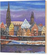 Germany Ulm Panorama Winter Wood Print