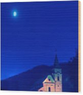 Gerovo Church By Moonlight Wood Print