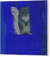 Gershwin The Cyan Squirrel Wood Print