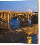 Gervais Street Bridge At Twilight Wood Print