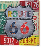 Get Your Kicks On Route 66 Recycled Vintage State License Plate Art By Design Turnpike Wood Print