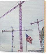 Getter Done Tower Crane Construction Art Wood Print