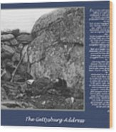 Gettysburg Address Civil War Devils Den Wood Print