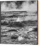 Geysers Of Yellowstone Wood Print