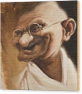 Ghandi Wood Print by Court Jones