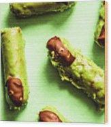 Ghastly Green Halloween Finger Food Wood Print