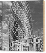 Gherkin And St Andrew's Black And White Wood Print