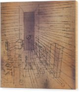 Ghost Chamber With The Tall Door New Version Wood Print