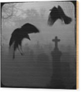 Ghost Crows Wood Print