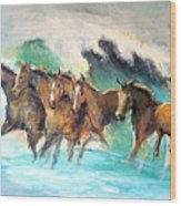 Ghost Horses In Maui Shorebreak Wood Print
