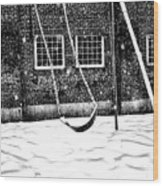 Ghost On A Swing Wood Print