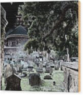 Ghostly Cemetary Wood Print