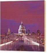 Ghostly Commuters Head To St Pauls On Millennium Bridge Wood Print