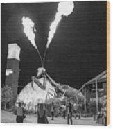 Giant Flamethrowing Praying Mantis Wood Print