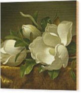 Giant Magnolias On A Cloth Wood Print